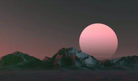 Paisaje polivinílico bajo de las montañas en la puesta del sol Foto de archivo libre de regalías