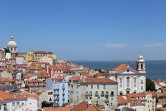 Paisaje Portugal de la ciudad y del mar de Lisboa Imagen de archivo
