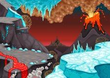 Paisaje prehistórico con el fuego y el hielo libre illustration