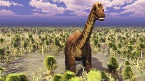 Paisaje prehistórico con la representación grande del diplodoc 3d ilustración del vector