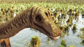 Paisaje prehistórico con la representación grande del diplodoc 3d stock de ilustración