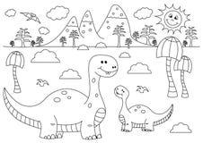 Paisaje prehistórico con los dinosaurios divertidos de la historieta - Brontosaurus stock de ilustración