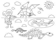 Paisaje prehistórico con los dinosaurios divertidos de la historieta y hombre prehistórico libre illustration