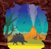 Paisaje prehistórico con los dinosaurios, el volcán, la cueva y la noche SK stock de ilustración