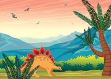 Paisaje prehistórico con los dinosaurios, las montañas y las plantas stock de ilustración
