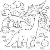 Paisaje prehistórico con los dinosaurios Página blanco y negro del libro de colorear stock de ilustración