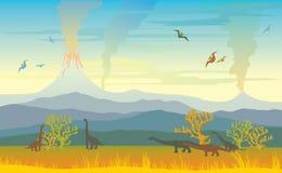 Paisaje prehistórico con los volcanes y los dinos ilustración del vector