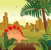 Paisaje prehistórico - dinosaurio, montaña, helecho libre illustration