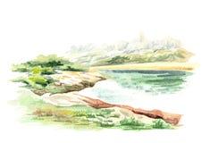Paisaje prehistórico Ejemplo dibujado mano de la acuarela ilustración del vector