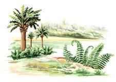 Paisaje prehistórico Ejemplo dibujado mano de la acuarela, aislado en el fondo blanco stock de ilustración