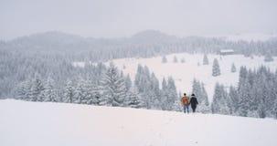 Paisaje que sorprende con la montaña nevosa y el turista del bosque dos lejos que caminan a través del campo nevoso almacen de metraje de vídeo