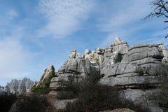Paisaje resistido de los picos de montaña Fotografía de archivo