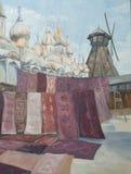 Paisaje retro de la ciudad con los palacios y las catedrales foto de archivo libre de regalías