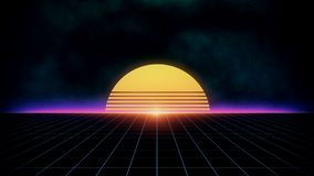 Paisaje retro futurista del fondo de la ciencia ficción de los años 80 ilustración del vector