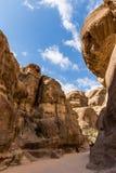 Paisaje rocoso de Petra antiguo, Jordania Imagen de archivo libre de regalías