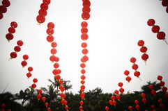 Paisaje rojo de la decoración de la linterna Imagenes de archivo
