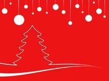 Paisaje rojo de la Navidad abstracta con las bolas de Navidad Imagen de archivo libre de regalías