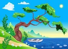 Paisaje romántico con el árbol y agua. Imagen de archivo libre de regalías