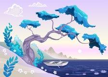 Paisaje romántico con el árbol y agua. Fotografía de archivo