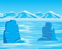 Paisaje ártico con el iceberg Imagen de archivo libre de regalías