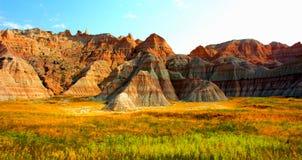 Paisaje rugoso del parque nacional de los Badlands foto de archivo libre de regalías