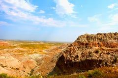 Paisaje rugoso del parque nacional de los Badlands fotografía de archivo