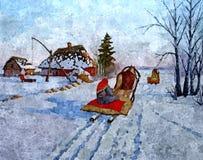 Paisaje rural Acuarela mojada de pintura en el papel Arte ingenuo Acuarela del dibujo en el papel ilustración del vector