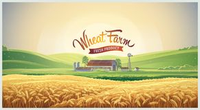 Paisaje rural con el campo de trigo stock de ilustración