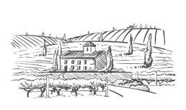 Paisaje rural con el chalet, la plantación de la vid y las colinas Ejemplo del diseño del drenaje de la mano para la etiqueta o e ilustración del vector