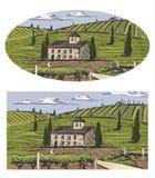 Paisaje rural con el chalet, la plantación de la vid y las colinas Ejemplo del diseño del drenaje de la mano para la etiqueta o e libre illustration