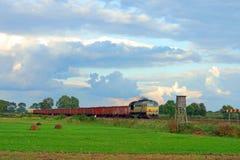 Paisaje rural con el tren de carga Imágenes de archivo libres de regalías