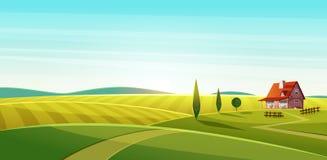 Paisaje rural con la casa del pueblo en campos verdes y campos del centeno stock de ilustración