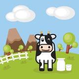 Paisaje rural con la lechería de la granja y las latas de la leche stock de ilustración