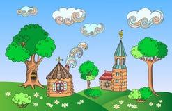 Paisaje rural con las casas Imagen de archivo