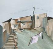 Paisaje rural con las casas y las calles de piedra bajas foto de archivo libre de regalías