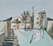 Paisaje rural con las casas y las calles de piedra bajas fotografía de archivo libre de regalías