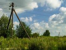 Paisaje rural con los alambres eléctricos del prado y de una torre de madera Fotografía de archivo libre de regalías