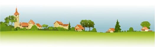 Paisaje rural con poca ciudad stock de ilustración
