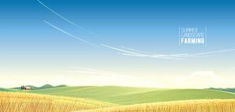Paisaje rural con trigo libre illustration