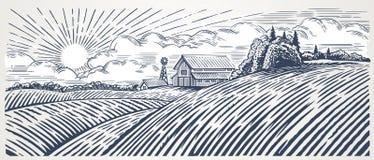 Paisaje rural con una granja stock de ilustración
