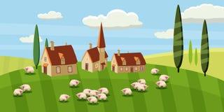 Paisaje rural con una hermosa vista de campos y de colinas distantes Granja, ovejas Ilustración del vector Estilo de la historiet stock de ilustración