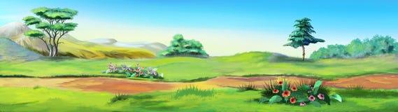 Paisaje rural con una trayectoria contra el cielo azul stock de ilustración