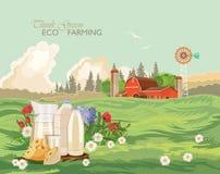 Paisaje rural de la granja con leche Piense el verde Ejemplo del vector de la agricultura Campo colorido Cartel con la granja del stock de ilustración