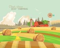 Paisaje rural de la granja con los pajares Ejemplo del vector de la agricultura Campo colorido Cartel con la granja del vintage libre illustration