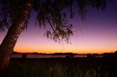 Paisaje rural de la noche Fotos de archivo libres de regalías