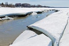 Paisaje rural de la primavera por el río Berdsk, oblast de Novosibirsk, Foto de archivo libre de regalías