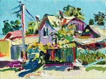 Paisaje rural de pintura en Irpin, región de Kyiv, Ucrania Imagen de archivo