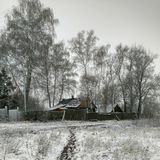 Paisaje rural del invierno en la zona media de Rusia Fotos de archivo