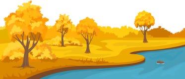 Paisaje rural del otoño con las colinas y el río stock de ilustración