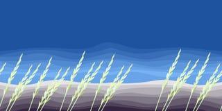 Paisaje rural El viento agita la hierba contra la perspectiva del campo arado y del cielo azul Ilustración del vector libre illustration